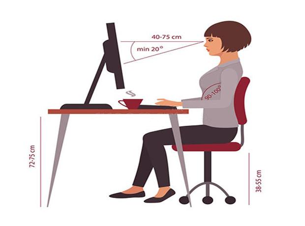 Không ngồi sát màn hình máy tính